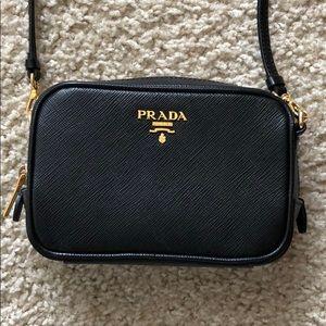 Prada Black Saffiano Camera Bag Purse Crossbody